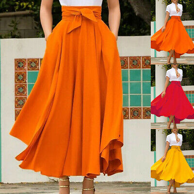 Fashion Women High Waist Flared Pleated Long Dress Gypsy Maxi Skirt Full Length
