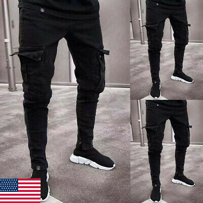 Men Ripped Biker Skinny Jeans Frayed Destroyed Trousers Casual Denim (Fray Denim Jeans)