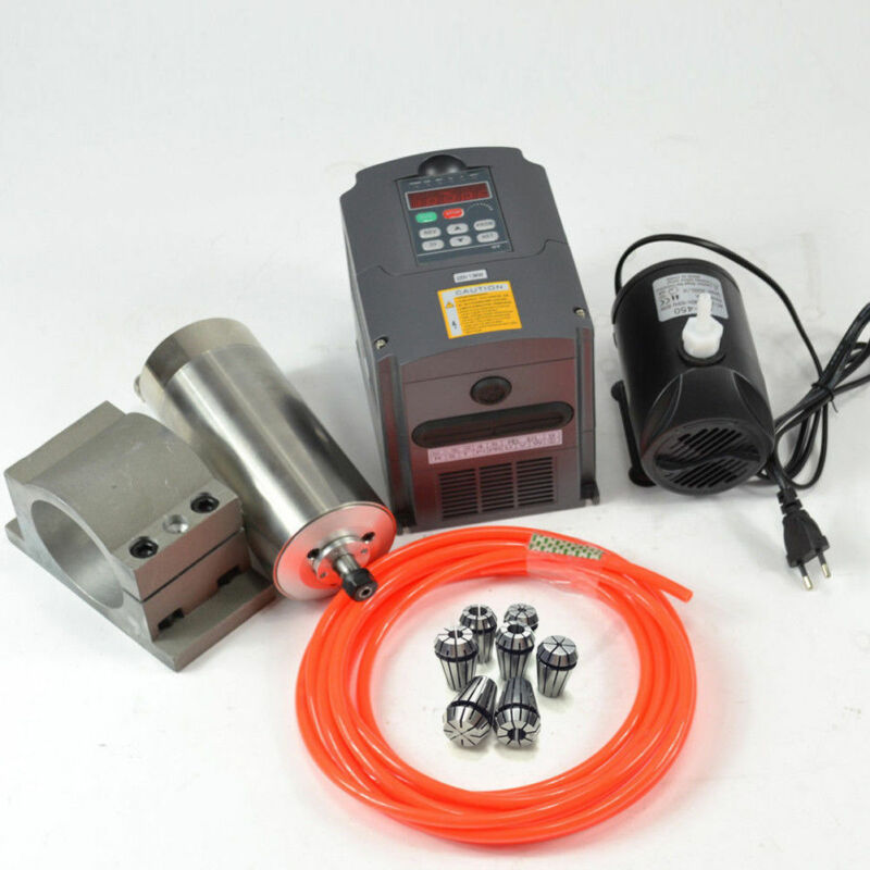 1.5KW WATER COOLED KIT SPINDLE CNC 110V SPINDLE MOTOR+INVERTER+CLAMP+PUMP+PIPE