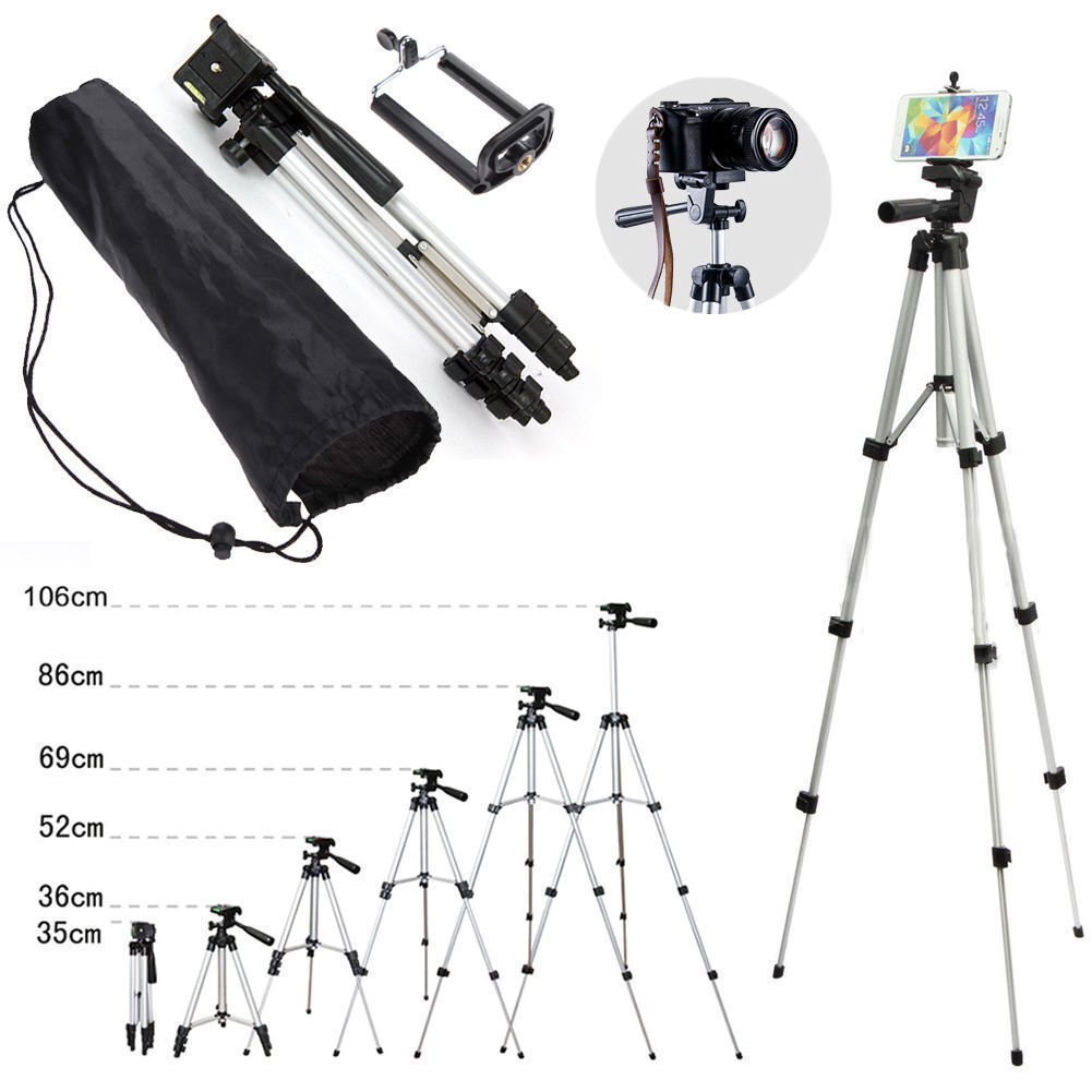 Professional Aluminium Camera Tripod Stand Holder for Samsung DSLR Cell Phone Silver
