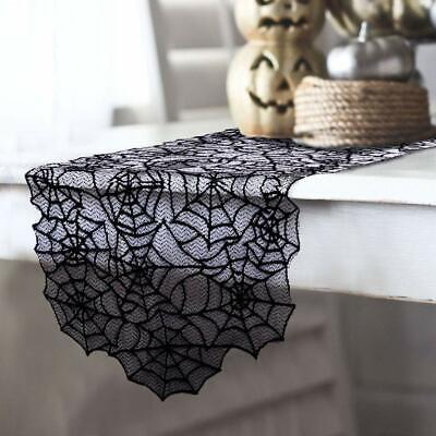 "Black Lace Spider Web Table Runner 20""x80"