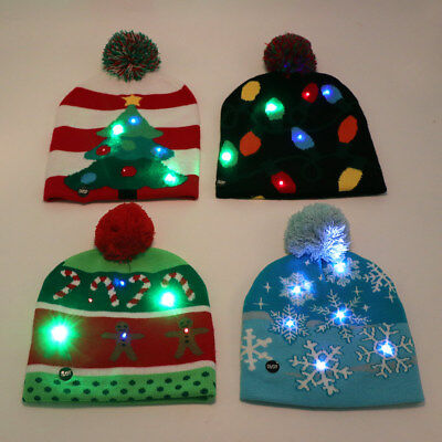 Funny LED Christmas Hat Adult Kids Knitted Santa Hat Luminous Xmas New Year Cap