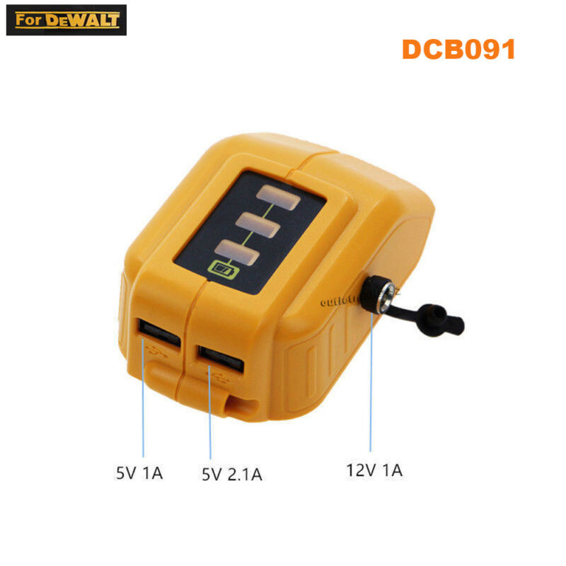 USB Charger Adapter For Dewalt Battery DCB091 DC 12/20V MAX Output Heated Jacket