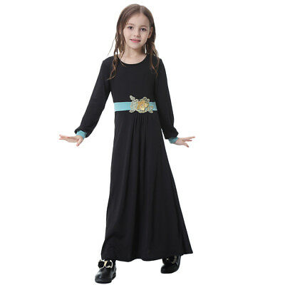 Muslim Islamic Girl Dress Long Sleeve Jersey Robe Dresses Abaya Kaftan For Kids - Jersey Dresses For Girls