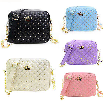 Women's Ladies Crown Quilted Chain Bag Leather Shoulder Bag