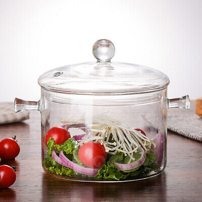 Household Transparent 1300ml Glass Soup Pot Stove Heating Glass Cooking Tool Cookware