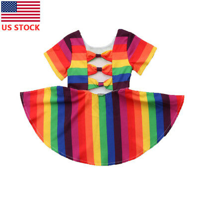 USA Toddler Baby Girl Summer Sleeveless Rainbow Dress Kids Casual Tutu Sun Dress](Baby Girl Rainbow Dress)