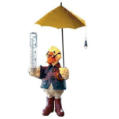 Solar Duck Rain Gauge Lawn Figurine, by Collections Etc