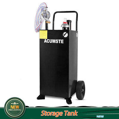 30 Gallon Gas Fuel Diesel Caddy Transfer Tank Container With Rotary Pump Black