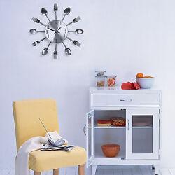 1pc Sliver Modern Design Cutlery Kitchen Utensil Wall Clock Spoon Fork Clock