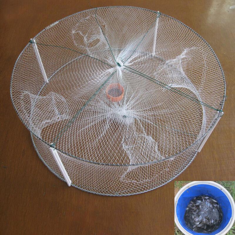 US! Foldable Fishing Bait Trap Crab Net Crawdad Shrimp Cast Dip Cage Fish Minnow