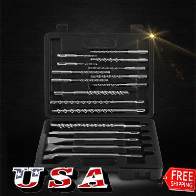Qualified 17Pc Sds Plus Rotary Hammer Bits Drill Bit   Chisel Groove Concrete Us