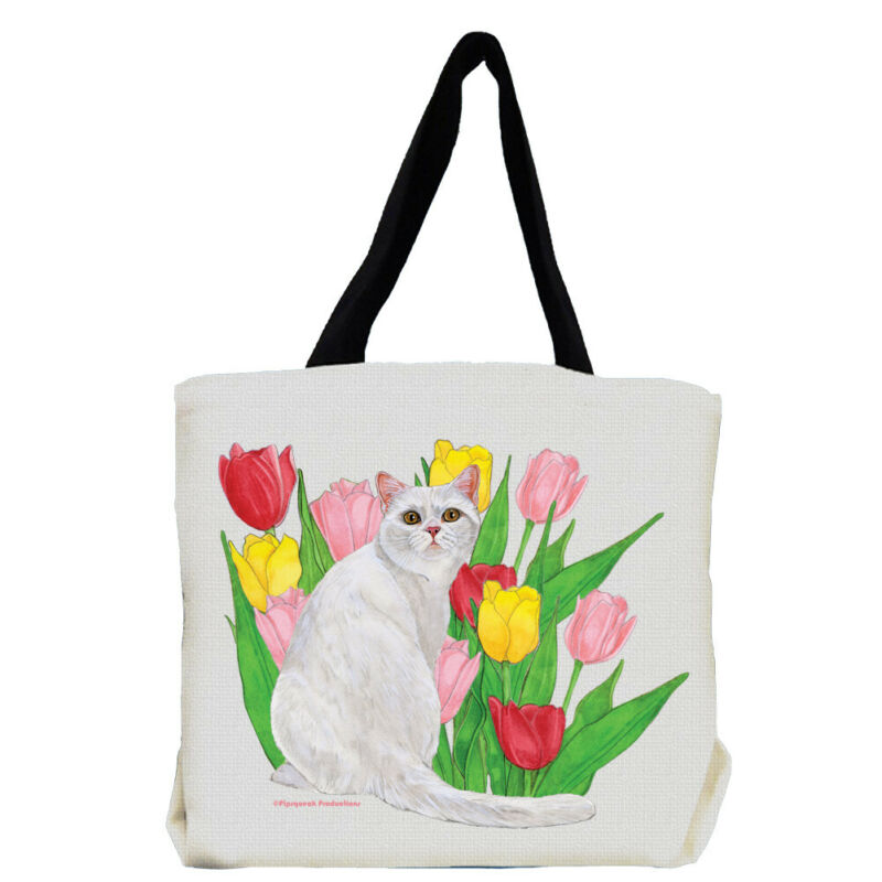 Cat White Cat with Flowers Tote Bag