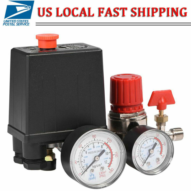 Air Compressor Pressure Switch Control Valve Manifold Regulator w/Gauges Relief