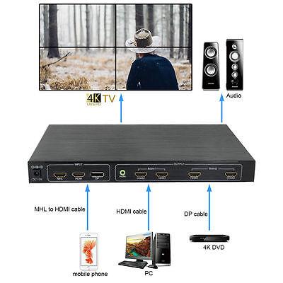 4K*2K, 4-TV Channel HDMI DP MHL Video Processor 2x2 TV Projector Wall Controller