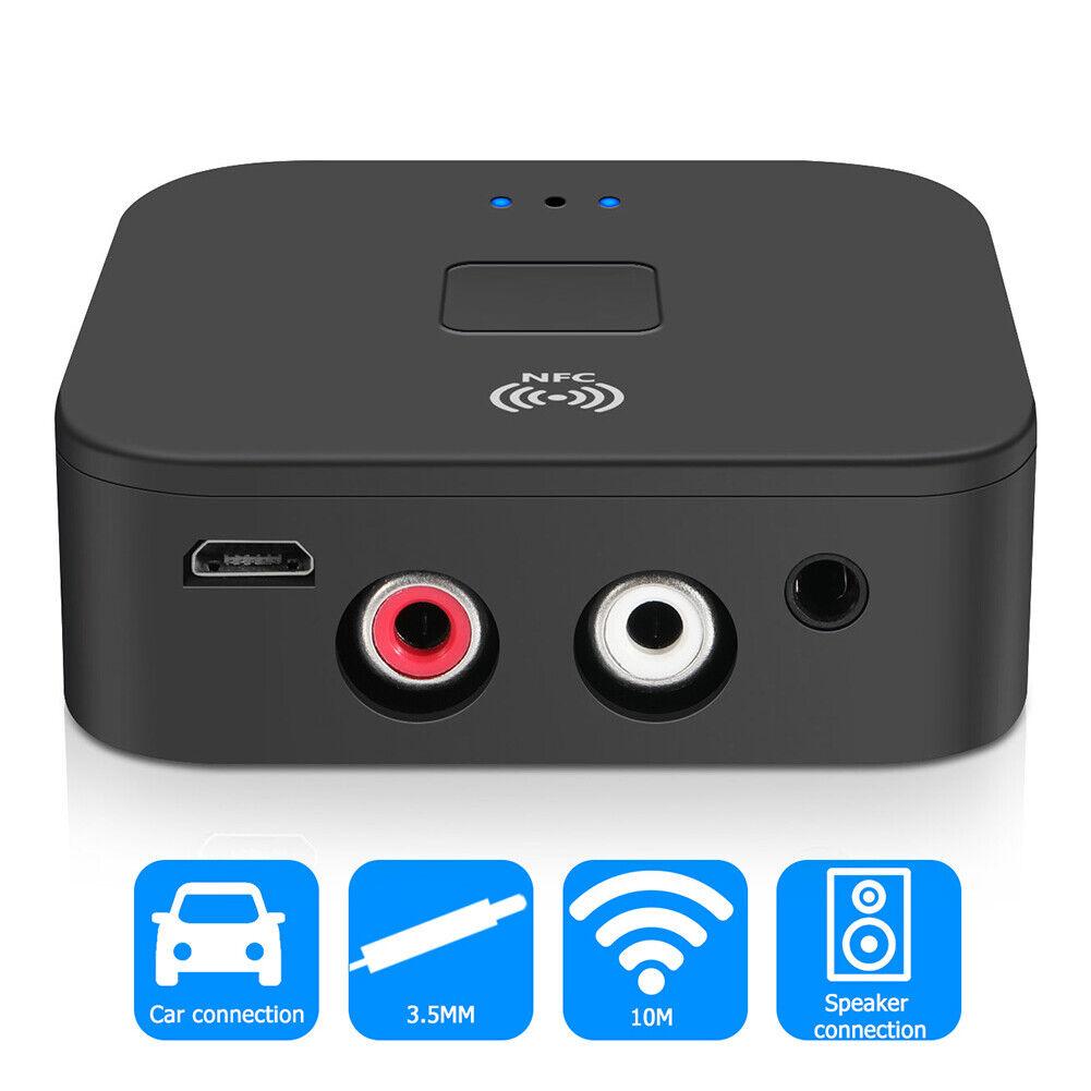 Bluetooth 5.0 Receiver Wireless 3.5mm Jack AUX NFC to 2 RCA