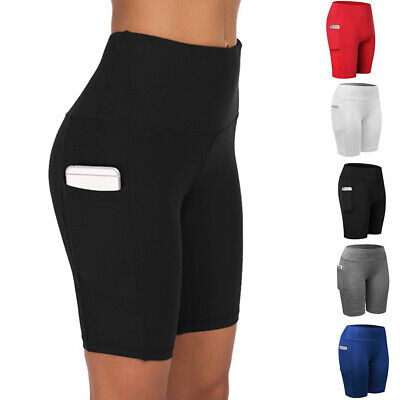 Yoga Pants - Women Compression Sport Shorts Leggings With Pocket Running Exercise Tight Pants