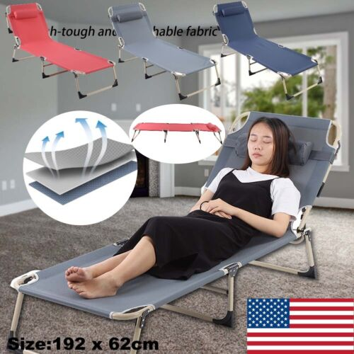 Folding Recliner 4 Positions Adjustable Lounge Chair Patio D