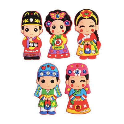 Korean Traditional National Costume Cubic Magnet 5pcs Magnetic Memo Holder Gift
