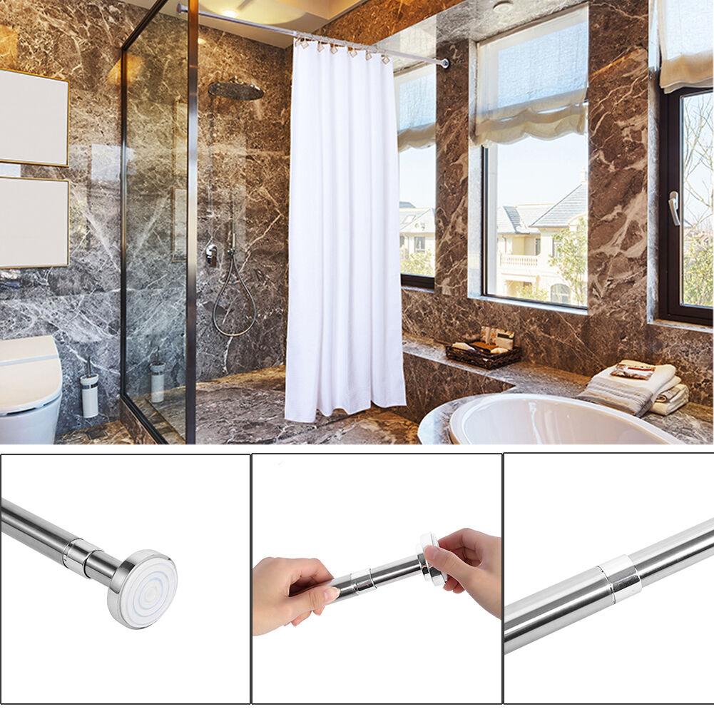 telescopic shower curtain rail extendable polish pole rod. Black Bedroom Furniture Sets. Home Design Ideas