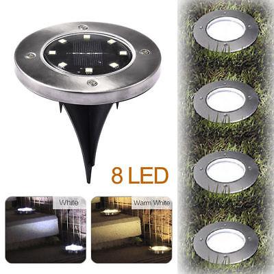4x Solar Bodeneinbaustrahler Außen Garten 8LED Lampe Bodenstrahler Solarleuchte