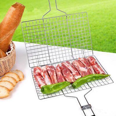 Bbq Meat Burger Fish Long Handle Grill Rack Large Basket Folding Stand Mesh