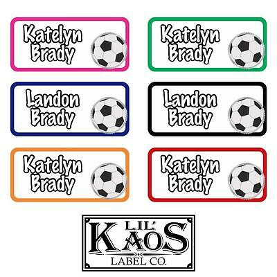 42 Personalized Waterproof Soccer Name Labels Sticker Kids School Shoe Book - Kids Name Labels