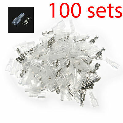 Us Stock 100 Sets 4.8mm Crimp Terminal Female Spade Connector Case Total