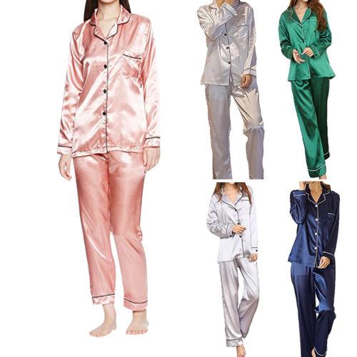 Women Silk Satin Pajamas Set Pyjama Sleepwear Nightwear Loun