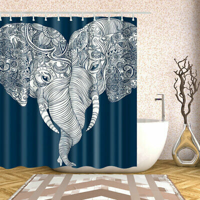 Couple Themes (Shower Curtain Decor Set  Elephant Couple Themed Love Art Bath Curtains 12)