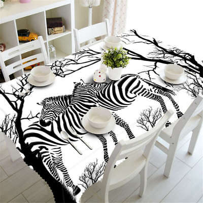 Hugging Zebra 3D Tablecloth Table cover Cloth Rectangle Wedding Party - Zebra Table Cover