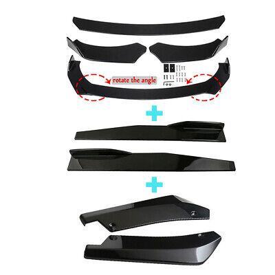 Glossy Black Car Front Bumper Lip Spoiler Rear Side Skirt Splitter Universal Kit