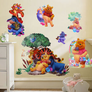 Baby winnie the pooh tiger art wall stickers decals kids for Baby pooh and friends wall mural