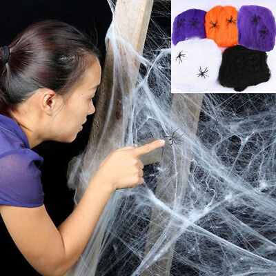 Halloween Spider Web Scary Party Scene Props Stretchy Cobweb Home Bar Decoration](Halloween Scary Scene)