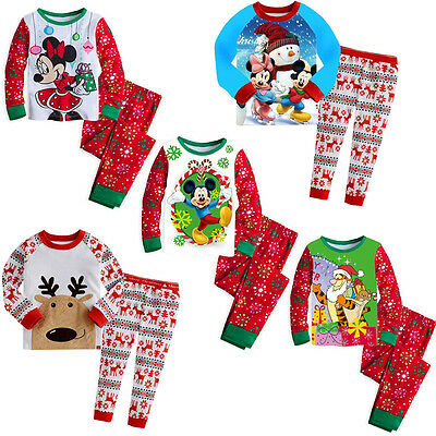 Children Baby Boys Girls Xmas Mickey Reindeer Sleepwear Nightwear Pajamas Set