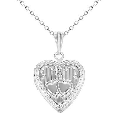 Silver Tone Love Heart Locket Girls Teens Kids Remembrance Pendant Necklace 16