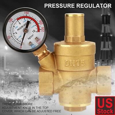 Dn15 Brass Adjustable 12 Water Pressure Regulator Reducer With Gauge Meter