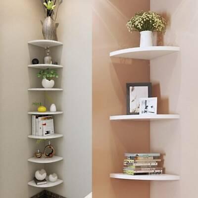 3 Pcs Floating Corner Shelf Wall Shelves Storage Display Bookcase Holder Decor