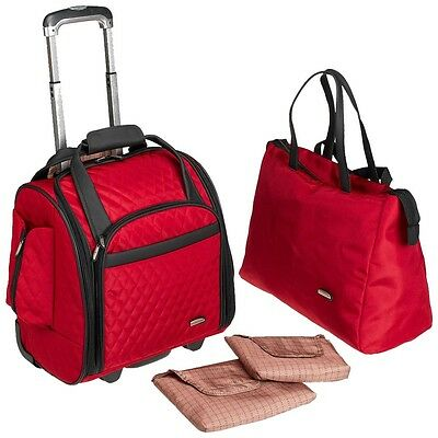Travelon  Wheeled Underseat Carry-On with Back Up Bag Red 64