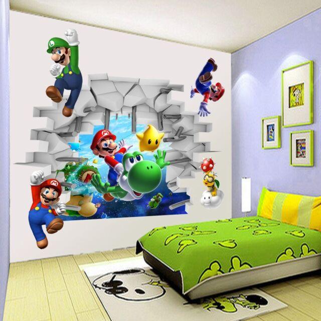 Super Mario Cracked Wall Mural Vinyl Wall Decals Sticker Kids Nursery Room  Decor