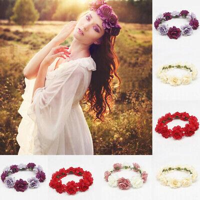 ES_ Bohemia Rose Flower Headband Bride Festival Wedding Garland Crown Hairband V (Headband Crowns)