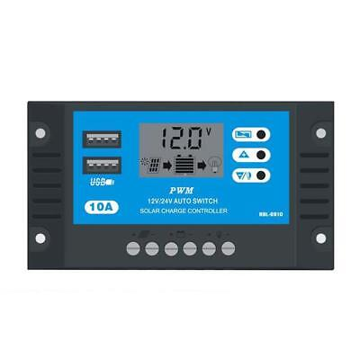 10A 12V 24V LCD Display PWM Solar Charge Controller Dual USB Panel Cargador√ღ