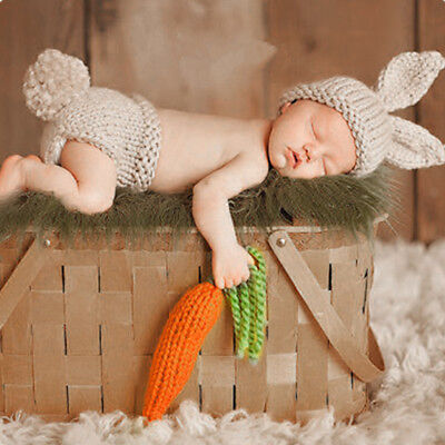 Newborn Baby Bunny Crochet Knit Hat Photography Costume Easter Rabbit Photo Prop - Bunny Costume Baby
