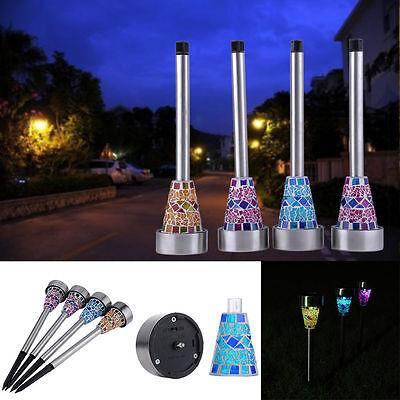 6PCS Garden Outdoor LED Solar Power Landscape Path Lamp Yard Mosaic Lights