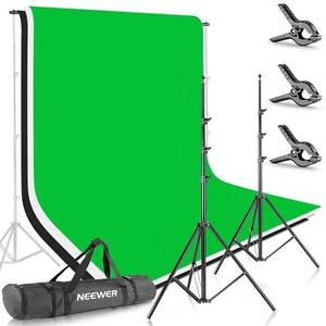 Photo Studio Video Green Black White Backdrop Stand Kit Ensemble Toile Fond Vert Noir Blanc