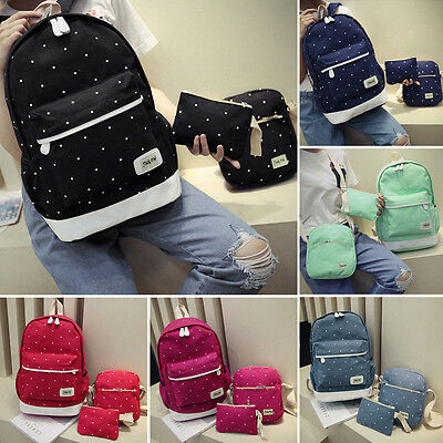 3Pcs Womens Girls Canvas Bags Backpack Shoulder Bag Travel School bags Rucksack
