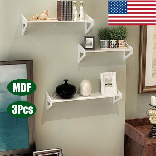 3Pcs MDF Wall Shelf Floating Ledge Shelves Bookshelf Decor S