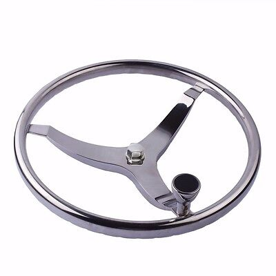 Boat Stainless Steering Wheel With Knob 3 Spoke 13 1 2  Dia And 1 2  Nut