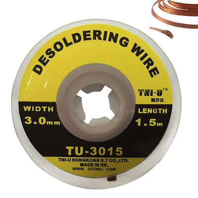 5ft 1.5m 3mm Braid Solder Remover Wick Soldering Welding Desoldering Wire New