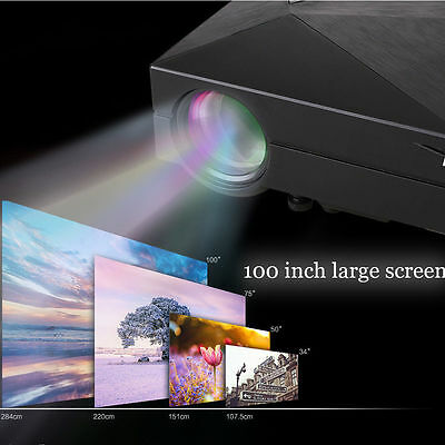 1000 Lumens HD 1080P LED Video Projector 3D HDMI Wifi Home Theater TV USB VGA